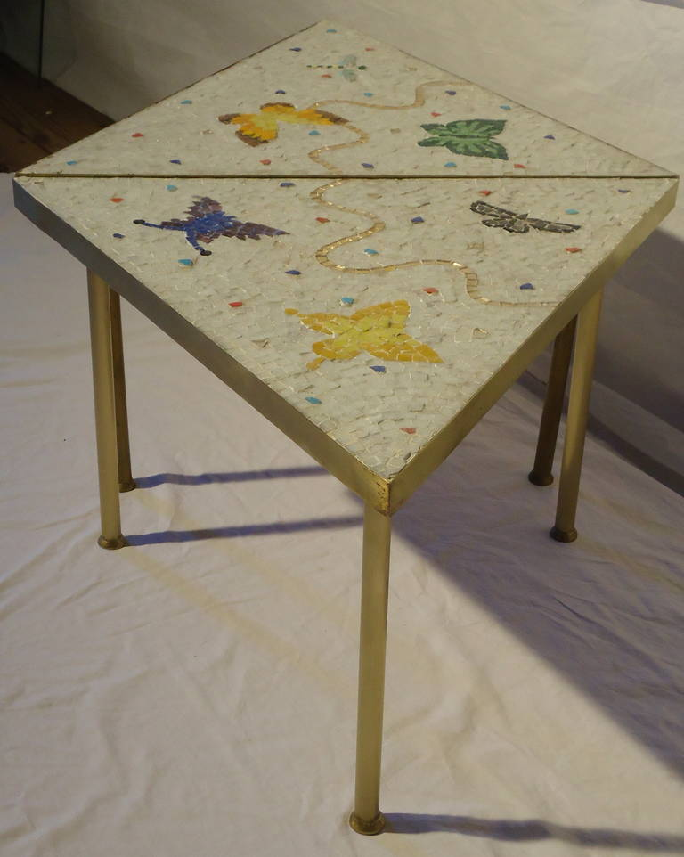 Pair of Mexican Mosaic Tile Brass Framed Side Tables By Genaro Alvarez 7
