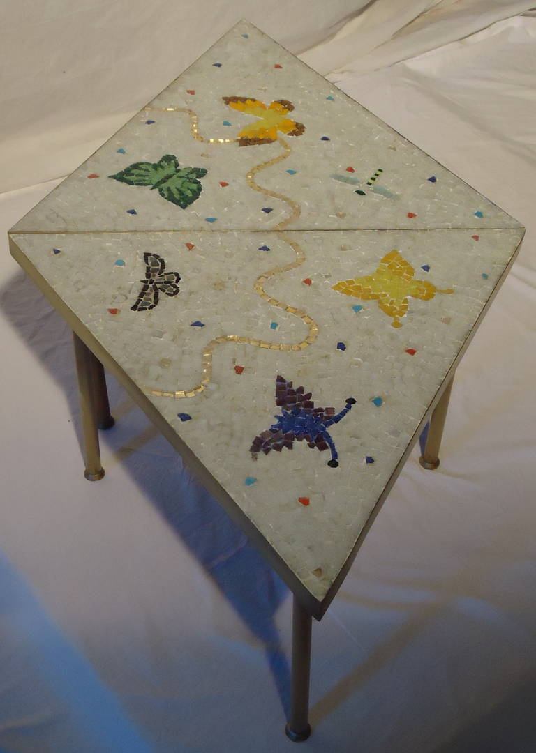 Pair of Mexican Mosaic Tile Brass Framed Side Tables By Genaro Alvarez 10