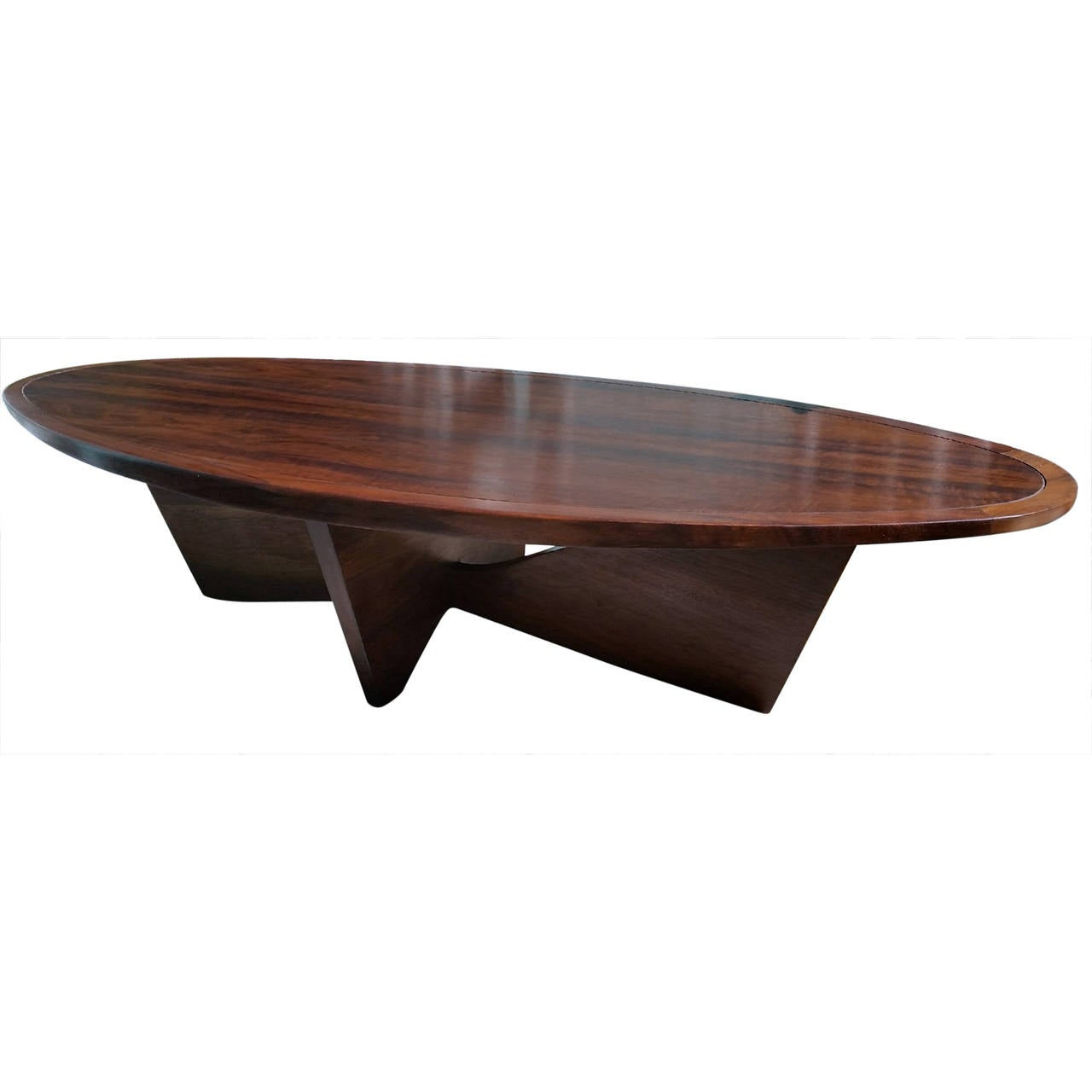 Rare george nakashima oval coffee table bow tie base widdicomb 1958 at 1stdibs Bases for coffee tables