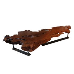 Monumental Oregon Redwood and Iron Live Edge Cocktail Table, 1960-2007