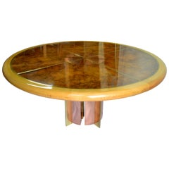 Circular Dining Table Studio Crafted Mixed Metals Strong Grained Burl 1972