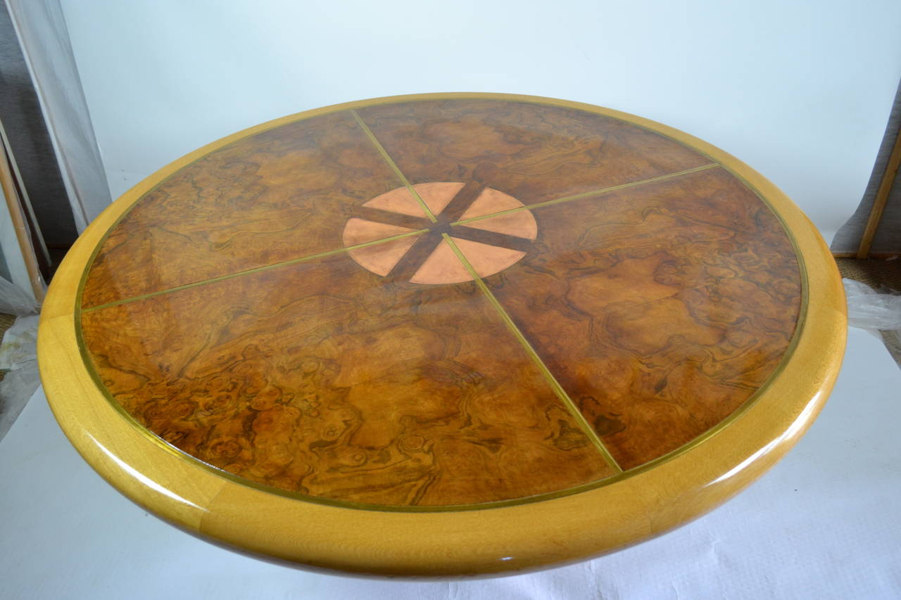 Copper And Brass Inlayed Compass On Amboyna Table 1972