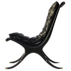 Gerald Jerome  Ebony Caned Lounge Chair CA Design 10 1968