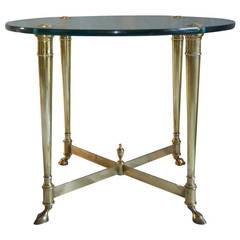 La Barge Classic Brass and Glass Top End Table, Italy, circa 1965