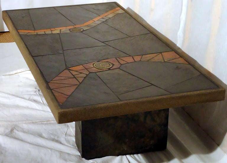 Paul Kingma Slate And Ceramic Coffee Table C 1980 At 1stdibs