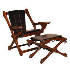 "Original Don Shoemaker Sling ""Swinger"" Chair and Ottoman, 1960s"