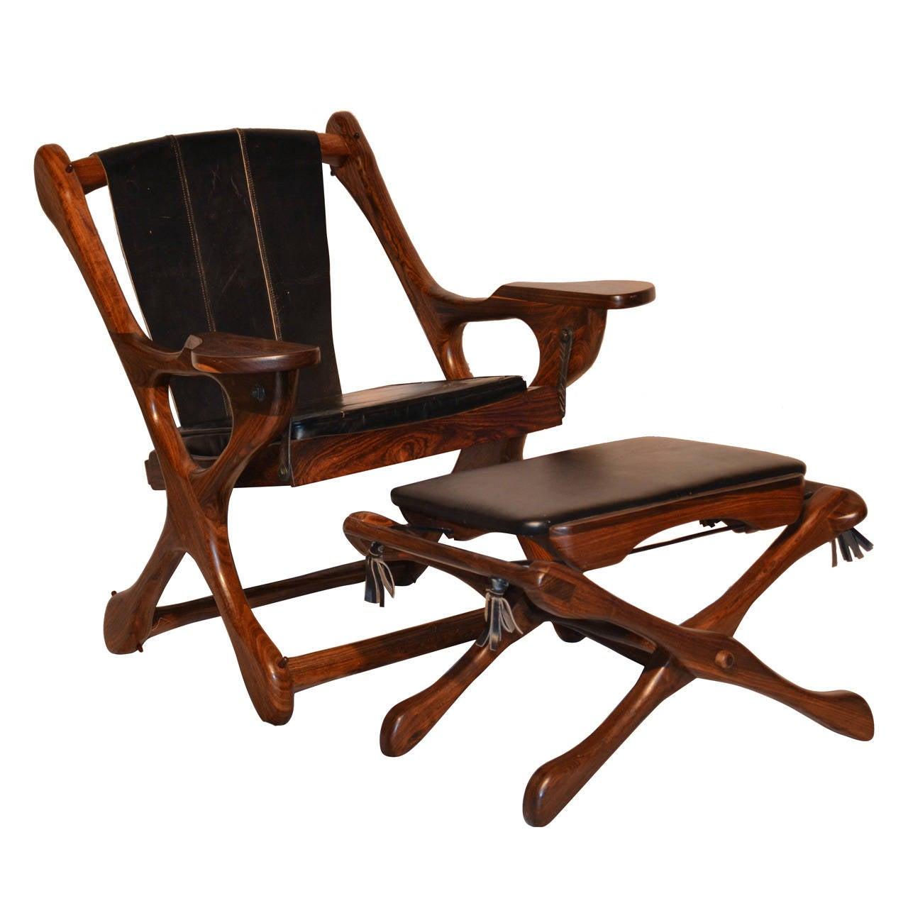 "Original Don Shoemaker Sling ""Swinger"" Chair and Ottoman, 1960s"