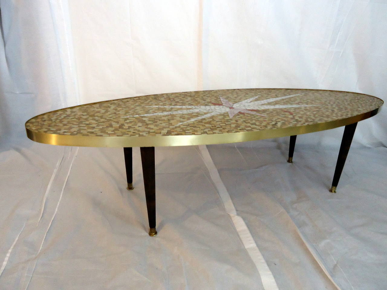 Mid Century Glass Tile Mosaic Coffee Table Circa 1960