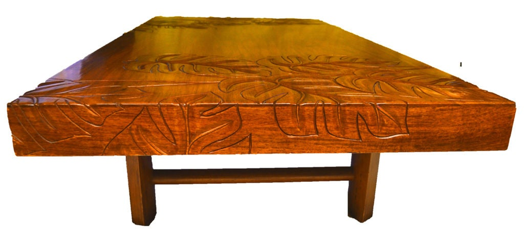 Carved Hawaiian Koa Wood Tropical Deco Coffee Table Image 2