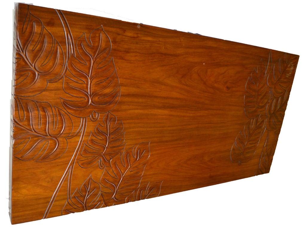 Beautifully Carved Hawaiian Koa Wood Tropical Deco Coffee