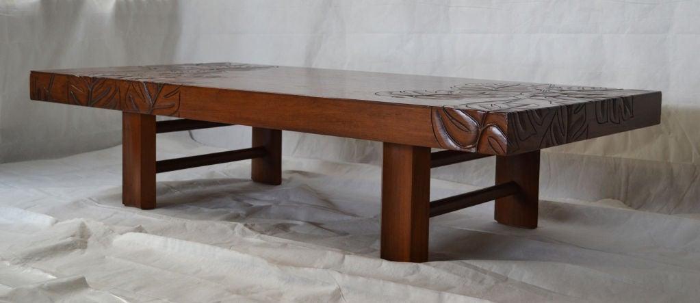 beautifully carved hawaiian koa wood tropical deco coffee. Black Bedroom Furniture Sets. Home Design Ideas
