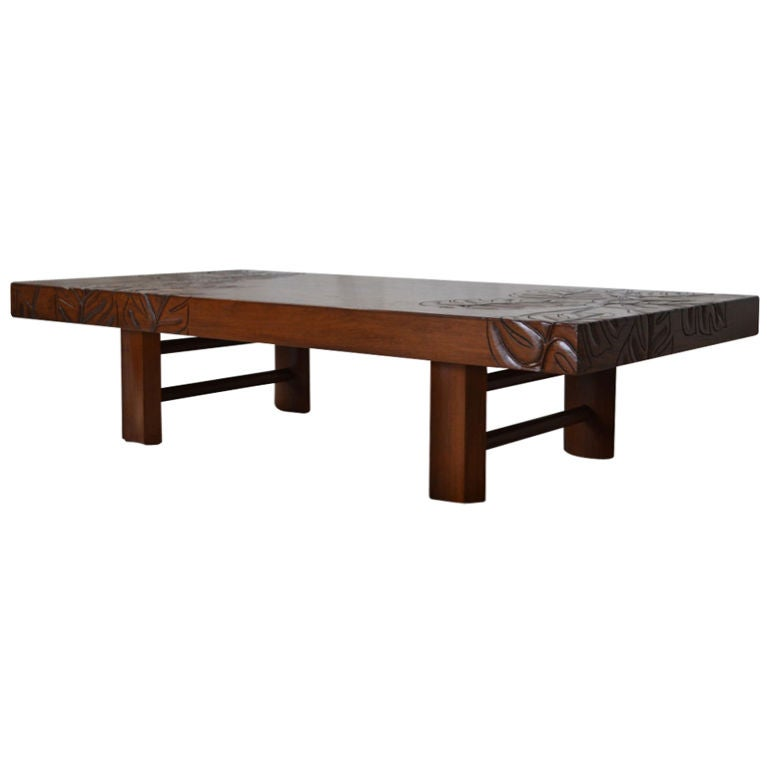 Beautifully Carved Hawaiian Koa Wood Tropical Deco Coffee Table For
