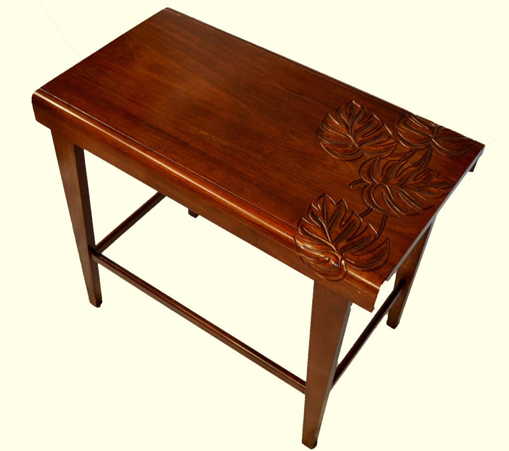 two carved hawaiian koa wood tropical deco end tables at 1stdibs. Black Bedroom Furniture Sets. Home Design Ideas
