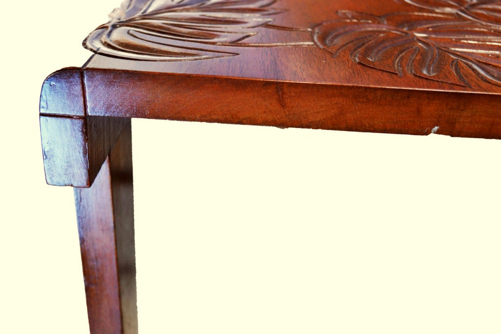 Two Carved Hawaiian Koa Wood Tropical Deco End Tables For 1