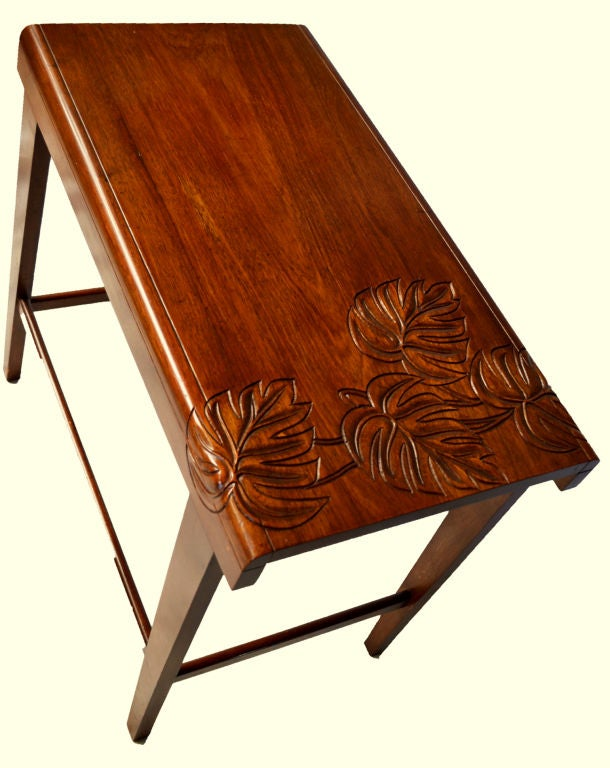 Two Carved Hawaiian Koa Wood Tropical Deco End Tables At 1stdibs