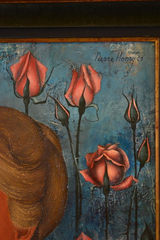 French Pierre Henry painting oil on canvas 1963 For Sale