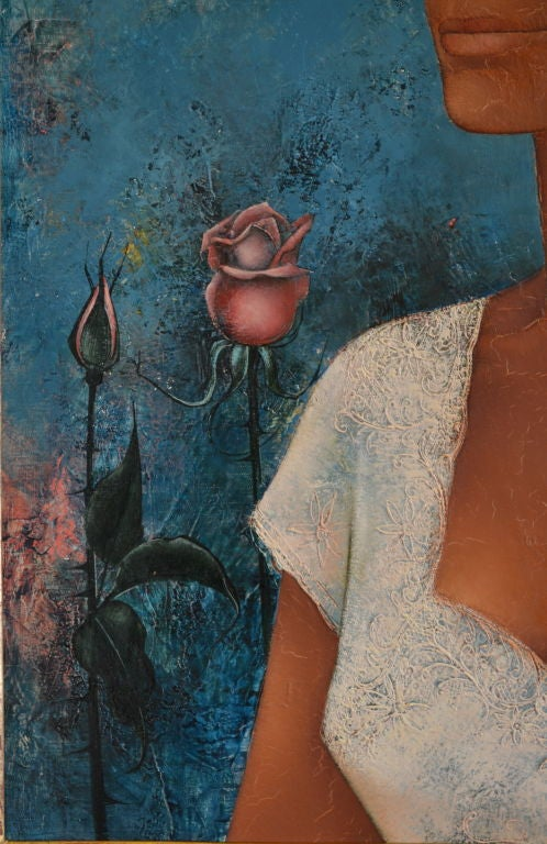 1960s Pierre Henry painting oil on canvas 1963 For Sale