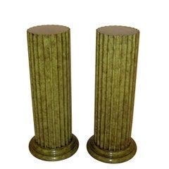 Pair of John Widdicomb Fluted Column Pedestals 1970's