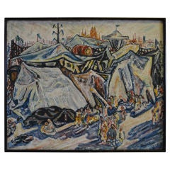 Early 20th Century Expressionist Painting of a Carnival on Board, Dated 1906