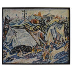 Mid 20th Century Expressionist Painting of a Carnival on Board, Dated 1946/47