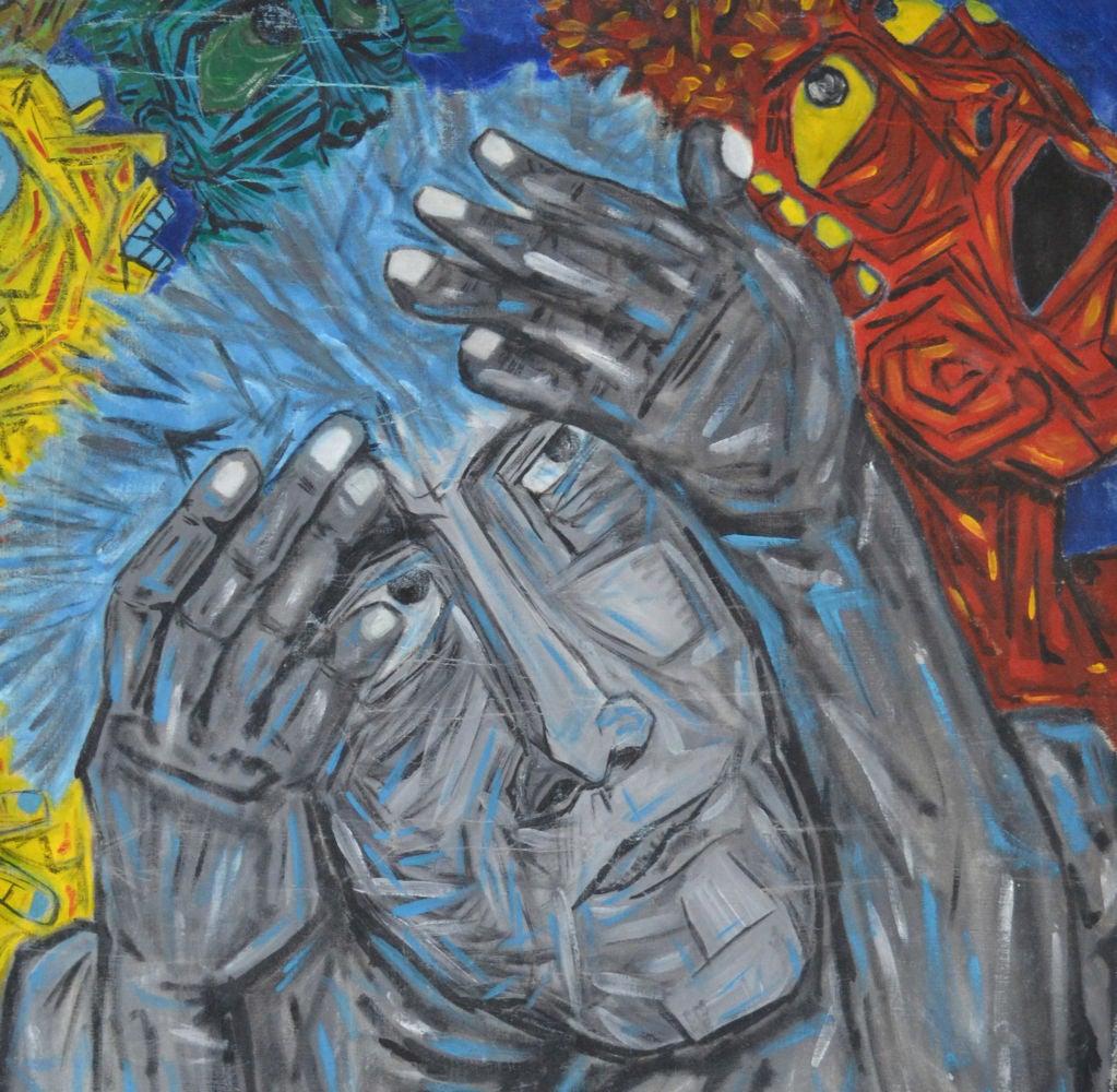 Modern Homage to Eduardo Kingman - Painting by Crespo Diaz,