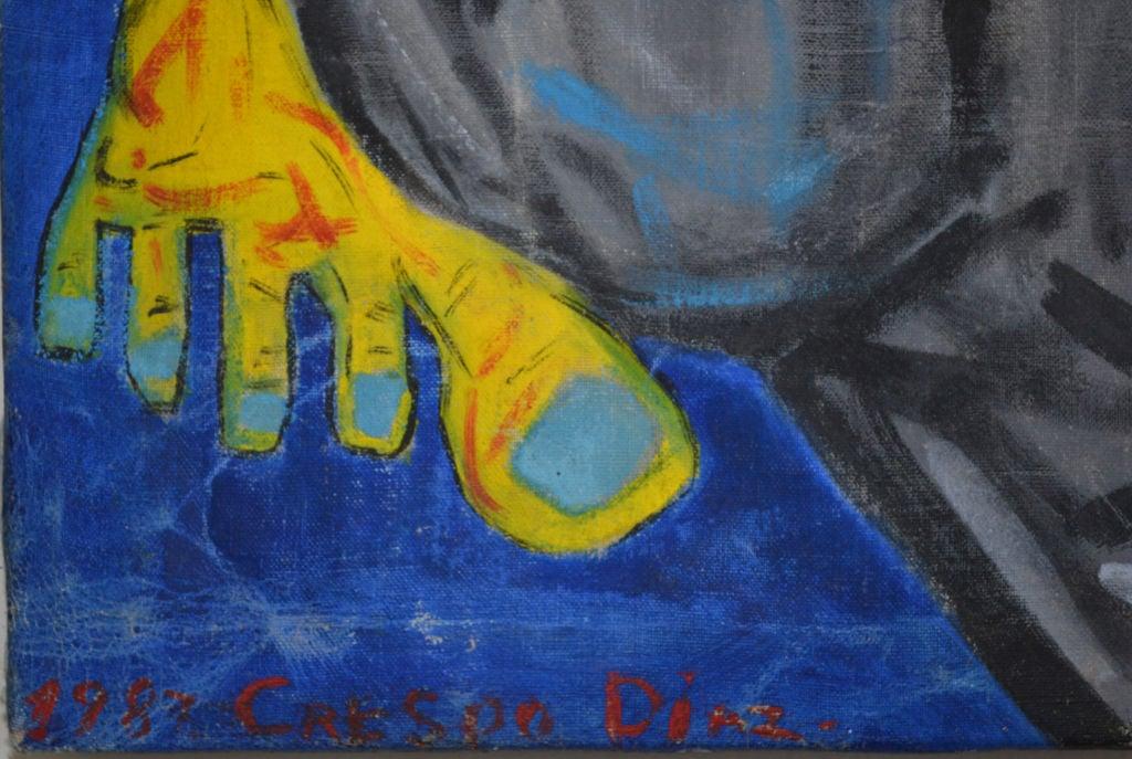 Painted Homage to Eduardo Kingman - Painting by Crespo Diaz,