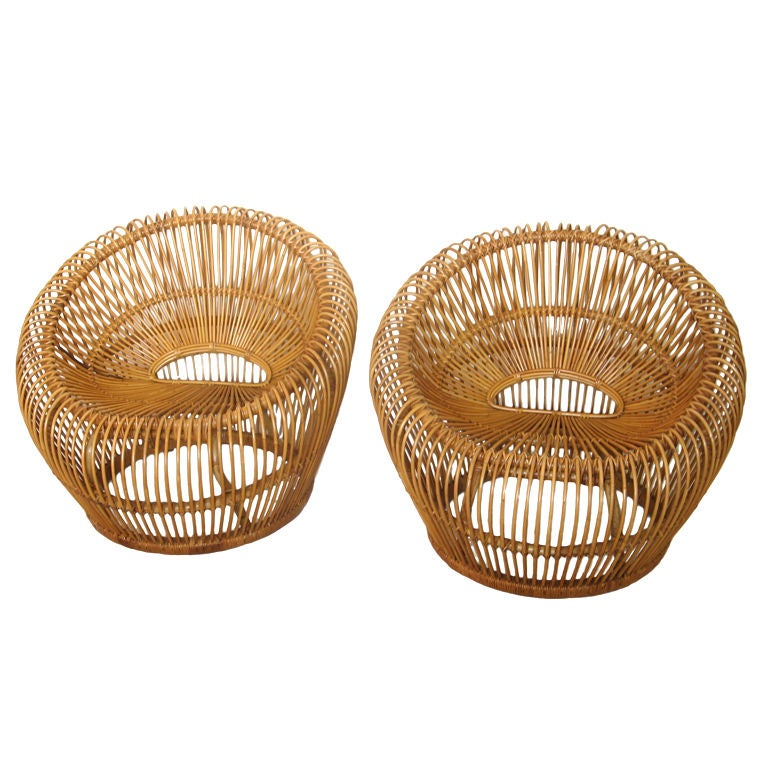 Pair of Bamboo Reed Lounge Chairs from Bruce Goff Project 1965 1