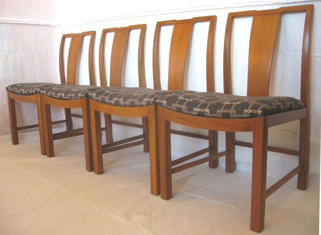 Six Walnut Dining Chairs Asian Modern For Sale At 1stdibs