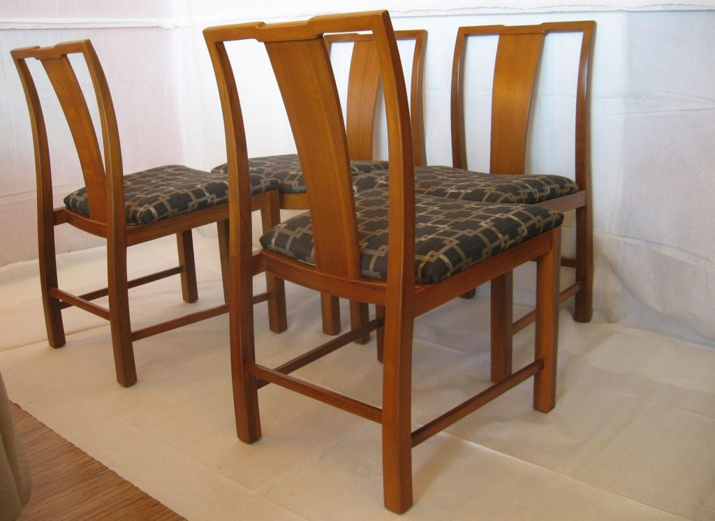 Six walnut dining chairs asian modern for sale at 1stdibs for Oriental dining room furniture for sale
