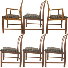 Michael Taylor Walnut 6 Dining Chairs Baker Furniture Far East Collection 1950s