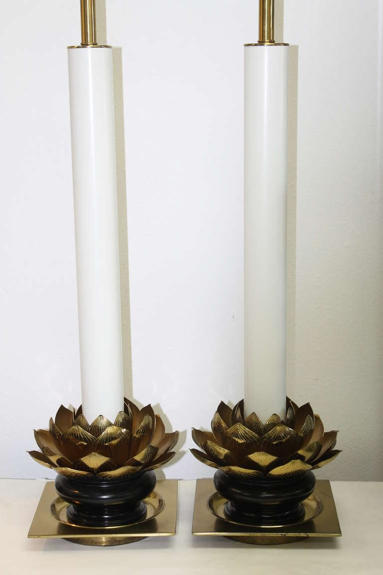 Pair of lotus lamps manufactured by the Stiffel Lighting Company. Lamps have been newly rewired. Lamps are 32