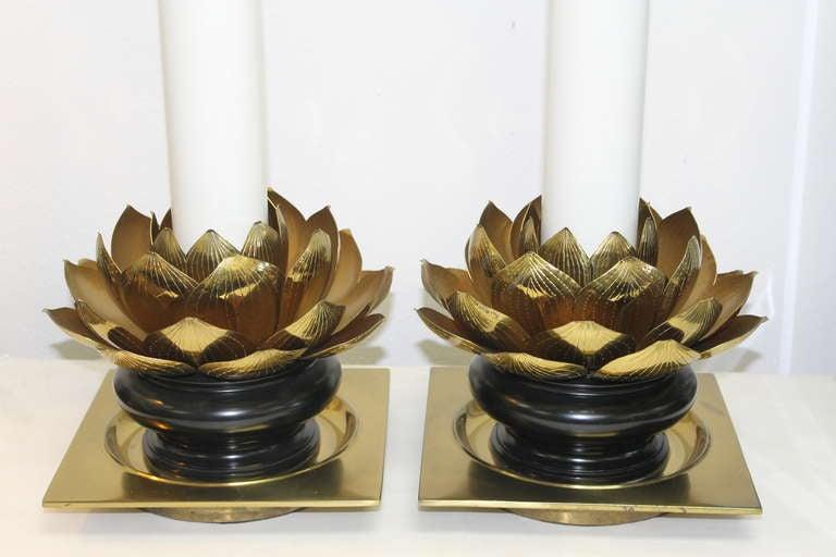Mid-20th Century Pair of Stiffel Lotus Leaf Lamps For Sale