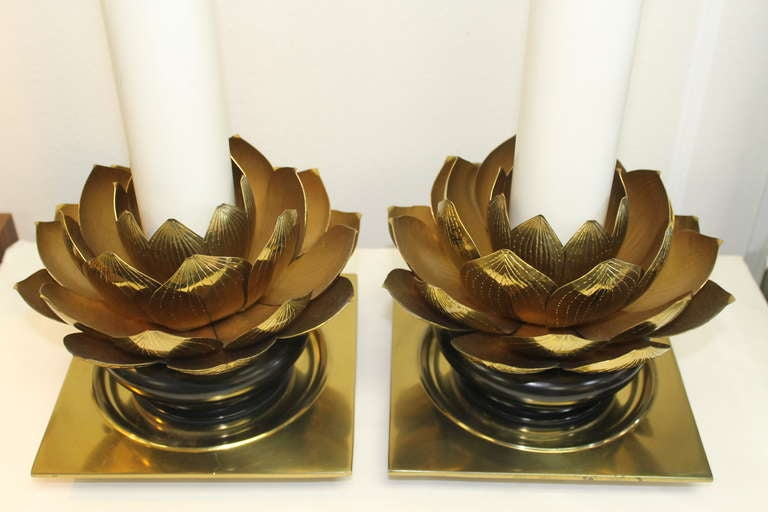 Pair of Stiffel Lotus Leaf Lamps In Excellent Condition For Sale In Palm Springs, CA