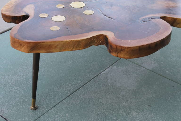 Redwood Coffee Table W Brass Disc Inlays At 1stdibs