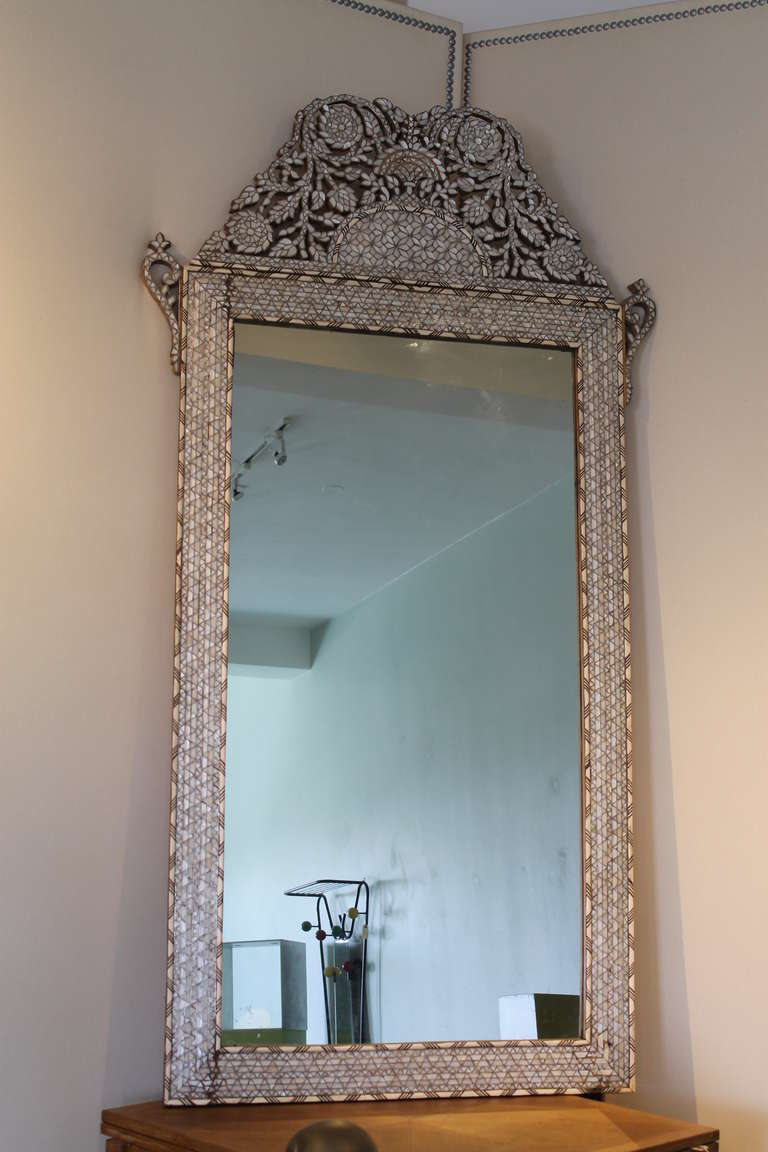 Moroccan Bone And Mother Of Pearl Inlay Mirror At 1stdibs