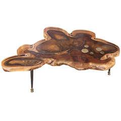 Redwood Coffee Table w/Brass Disc Inlays