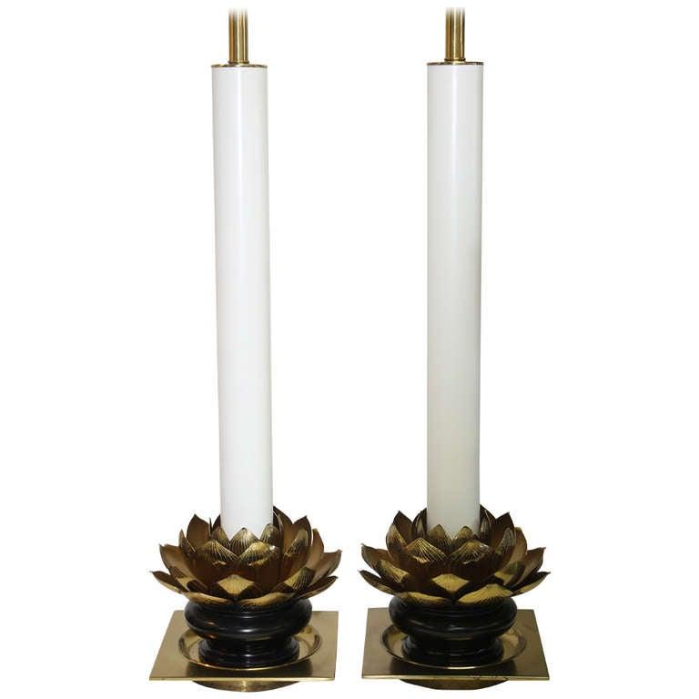 Pair of Stiffel Lotus Leaf Lamps For Sale