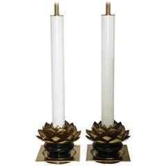 Pair of Stiffel Lotus Leaf Lamps