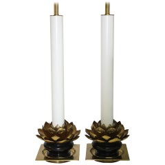 Pair of Lotus Leaf Lamps by the Stiffel Lamp Co.
