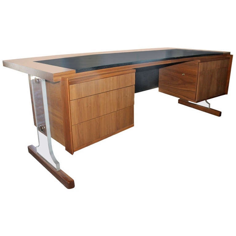 Lucite leather walnut desk manner of monteverdi young for Perspex desk