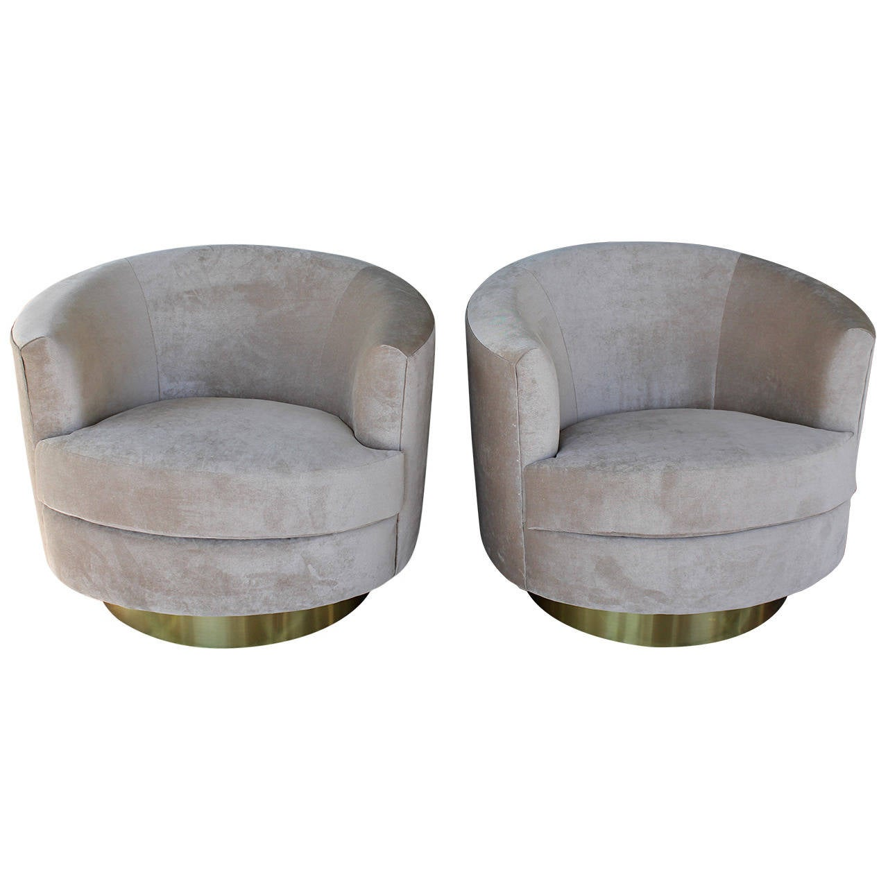 Pair of Barrel Swivel Chairs in the Style of Milo Baughman