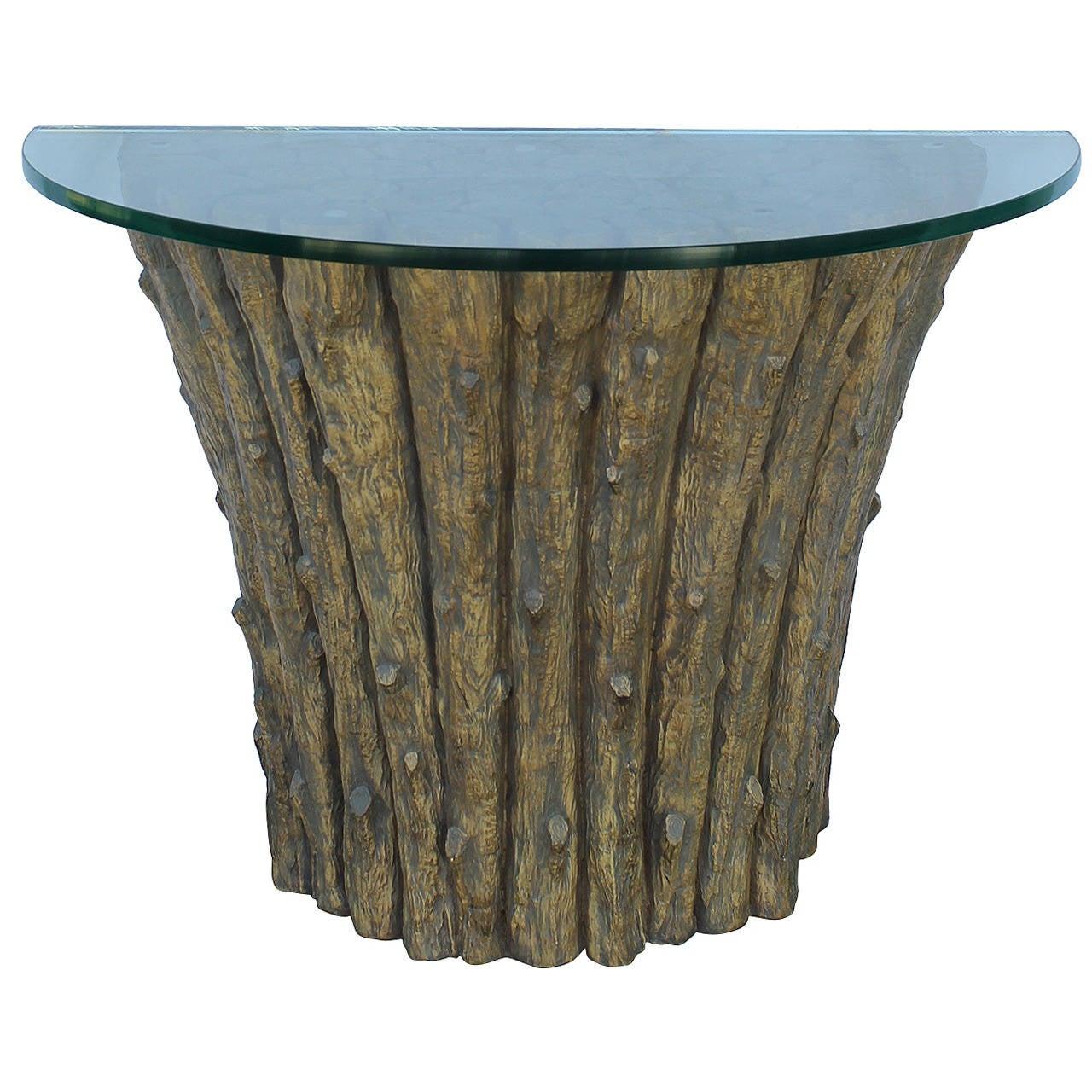 Vintage Faux Bois Demilune Entry Table For Sale