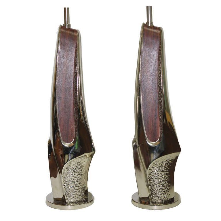 Pair of Brutalist Chrome and Wood Veneer Lamps by Laurel