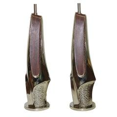 Pair of Brutalist Chrome and Wood Veneer Lamps by Laurel