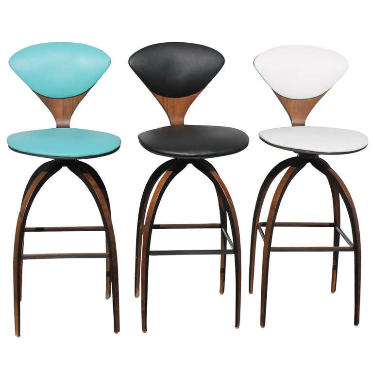 3 Norman Cherner Swivel Plycraft Counter Stools At 1stdibs