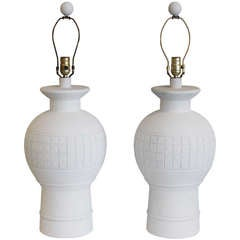Pair of White Plaster Table Lamps