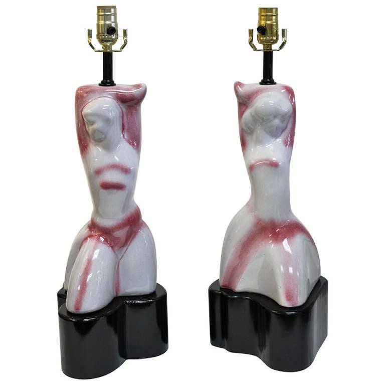 Pair of Ceramic Lamps, Attributed to Heifetz