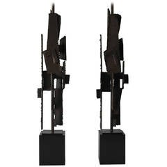 Pair of Brutalist Lamps by Harry Balmer for the Laurel Lamp Co.