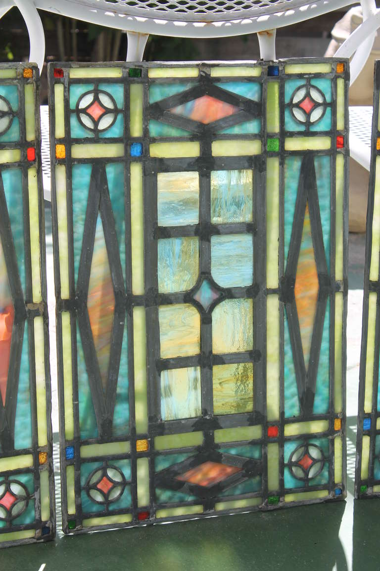Victorian Era Leaded Glass Window Set At 1stdibs