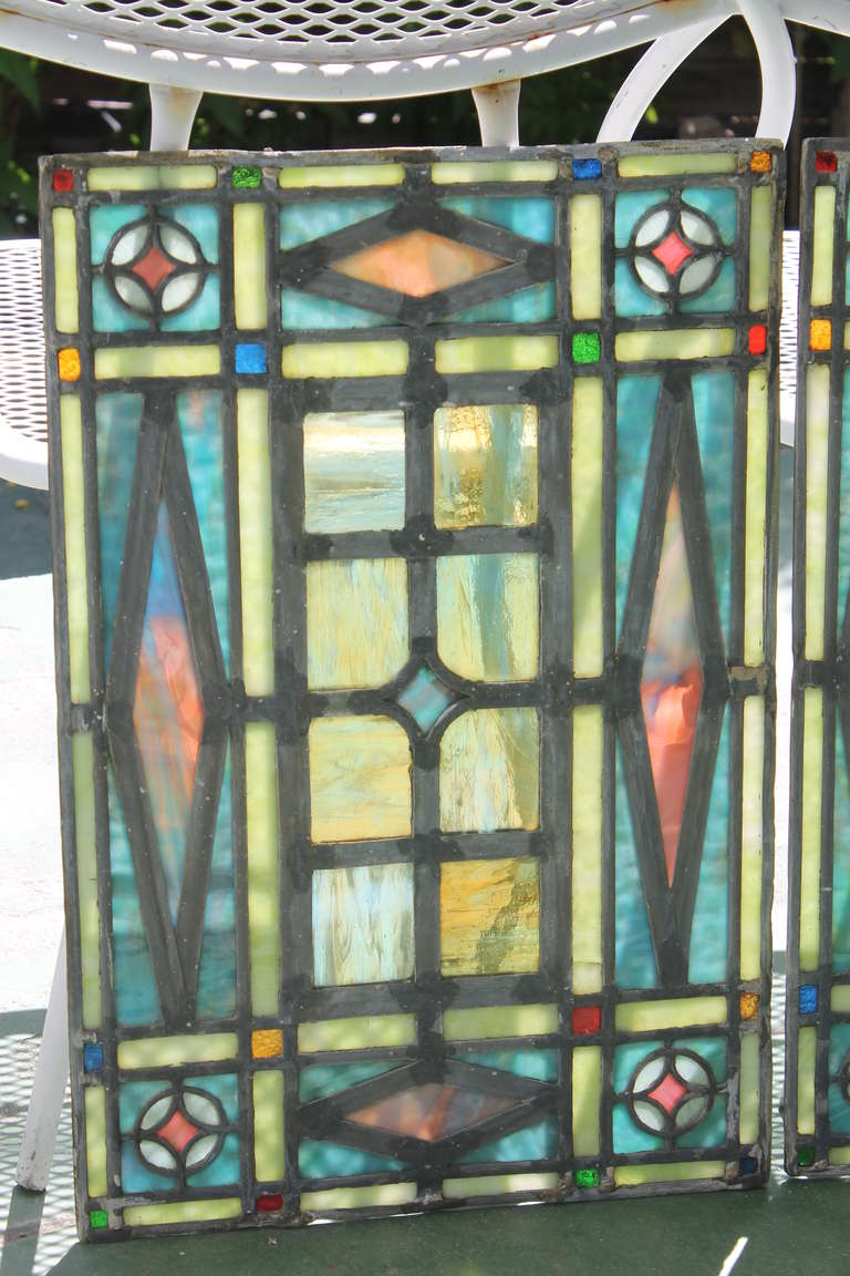 Victorian Era Leaded Glass Window Set At 1stdibs